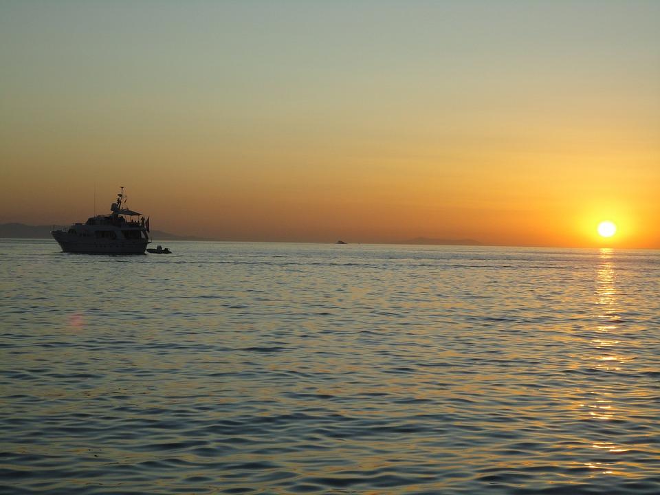 Boat, Sunset, Mikonos, Greece, Ocean