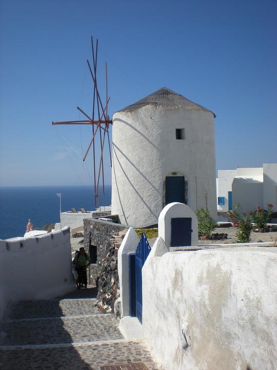 Santorini, Greek Island, Greece, Marine, Windmill, Oia