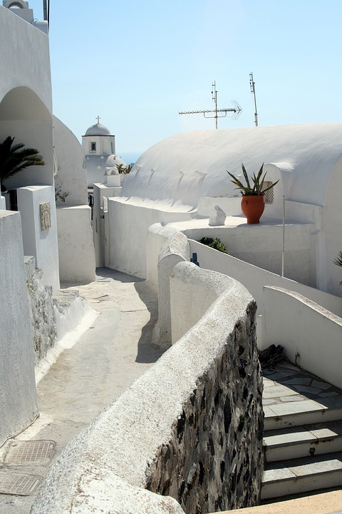 Santorini, Island, Sea, Greece, Cyclades, Stairs, White