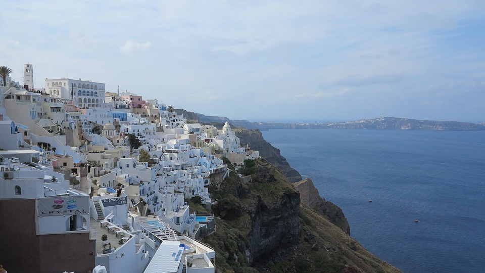 Santorini, Greece, White Houses, Sea