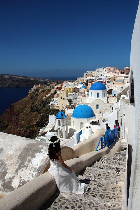 Santorini, Sea, Greece, Stairs, Home, White, Island