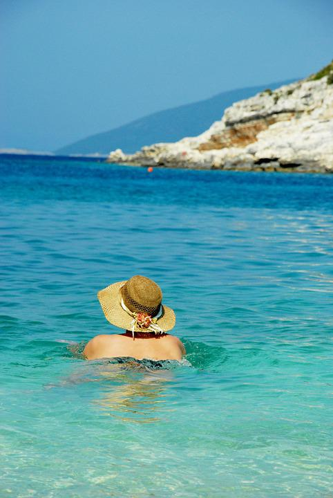 Greece, Sea, Swimming, Summer, Hat, Sky, Holiday, Beach