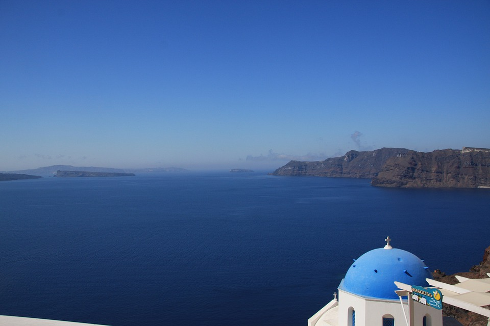 Sea, Santorini, Caldera, Greece, View