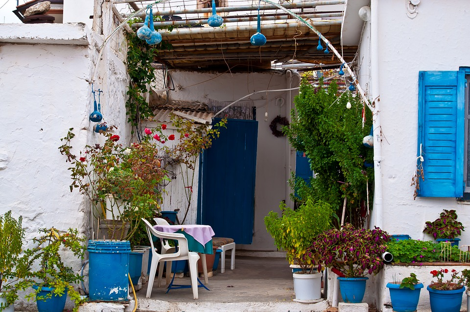 Greece, Crete, Building, Input, Chairs, Plant, White