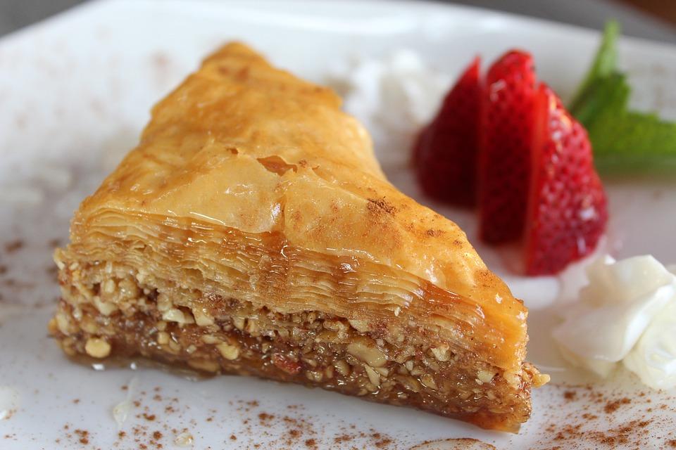 Baklava, Greek, Strawberry, Dish, Sweet, Dessert, Red