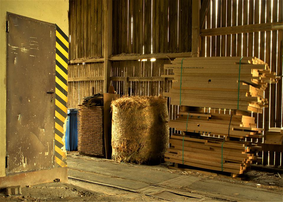 Hay Bales, Warehouse, Building, Door, Green, Abandoned