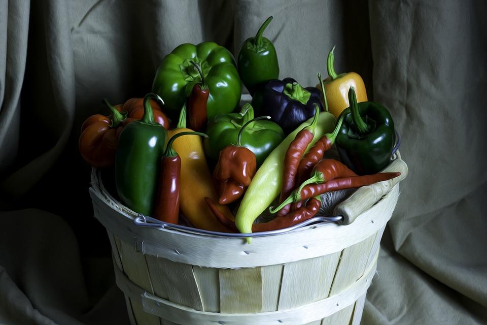 Peppers, Basket, Vegetable, Green, Natural, Agriculture