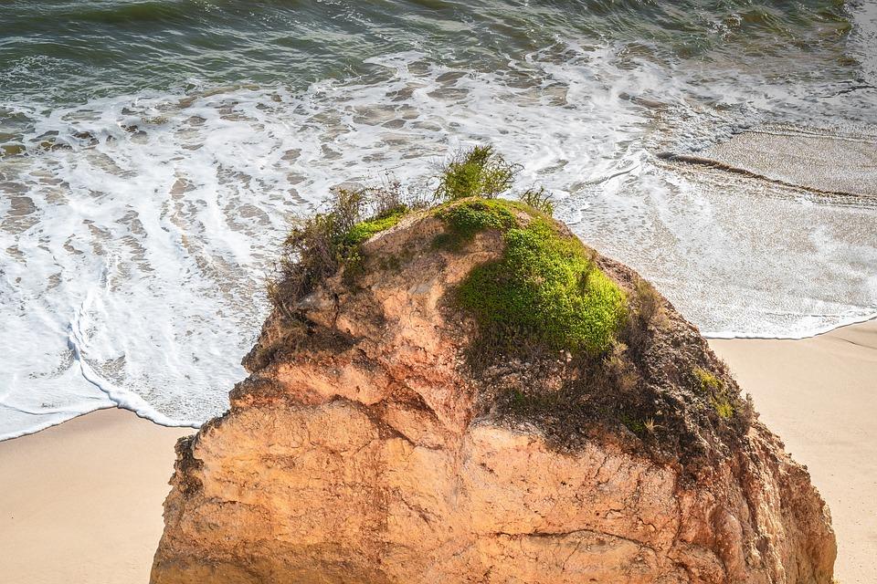 Algarve, Coast, Green, Sea, Wave, Portugal, Beach