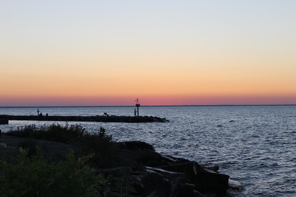 Evening, Sunset, Green Bay, Sunset Sky, Silhouette