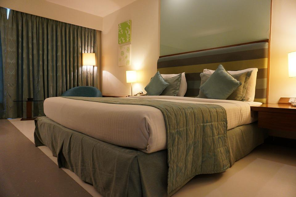 free photo green bed hotel room hotel room curtain furniture - max