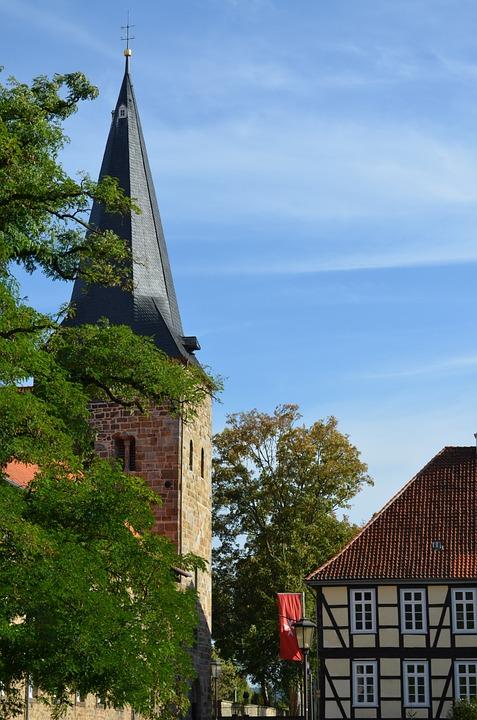 Church, Blue Sky, Late Summer, Bell Tower, Green