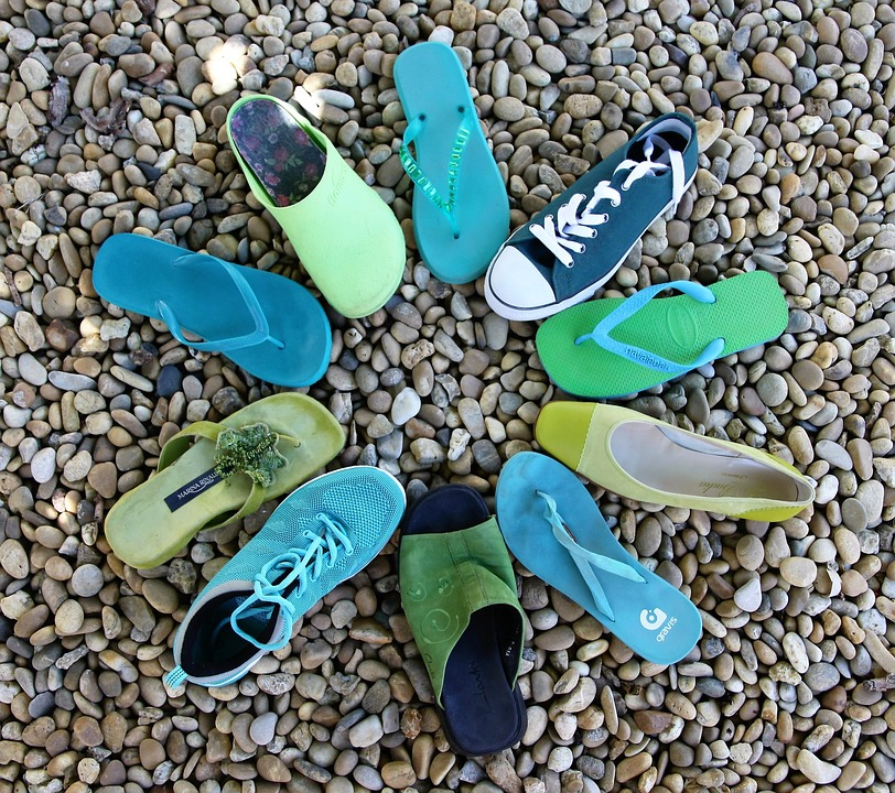 Circle, Shoes, Blue And Green, Blue, Green, Turquoise