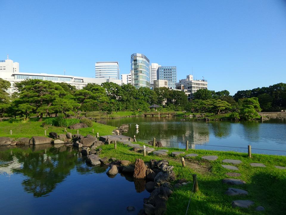Tokyo, Garden, Ponds, Green, Buildings, Blue, Sky