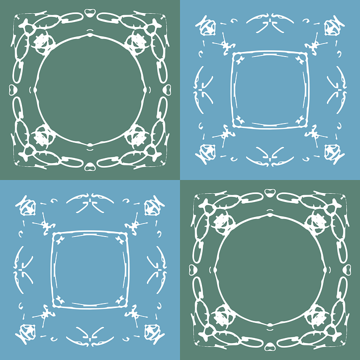 Green, Blue, Brown, Seamless, Pattern, Vector, Ink