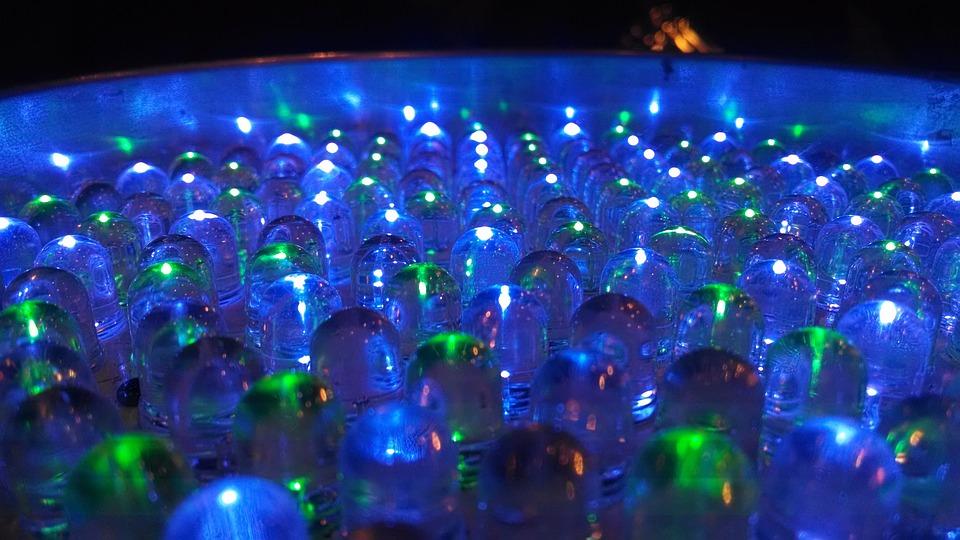 Led, Light, Bulb, Abstract, Macro, Blue, Green