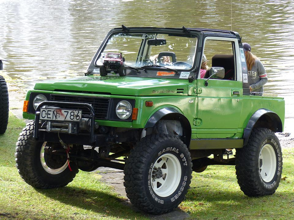 Jeep, Green, Car Show, Summer, Water, Grass