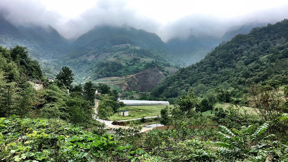 Mountains, Mountain, Fog, Forest, China, Green, Village