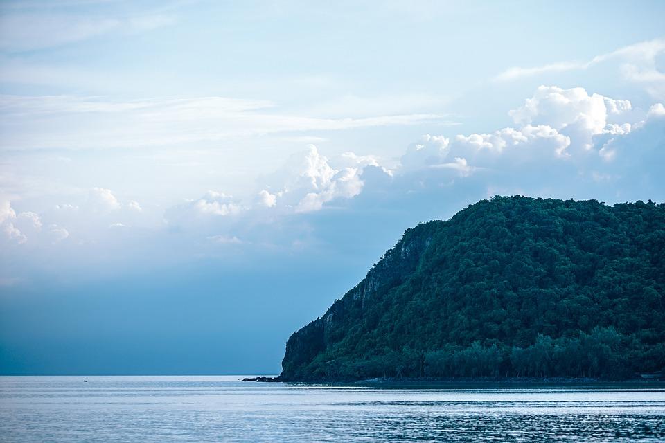 Bay, Beach, Blue, Clouds, Coast, Forest, Green, Horizon