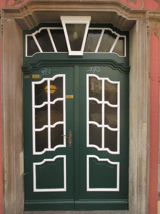Front Door, Door, House Entrance, Old, Green