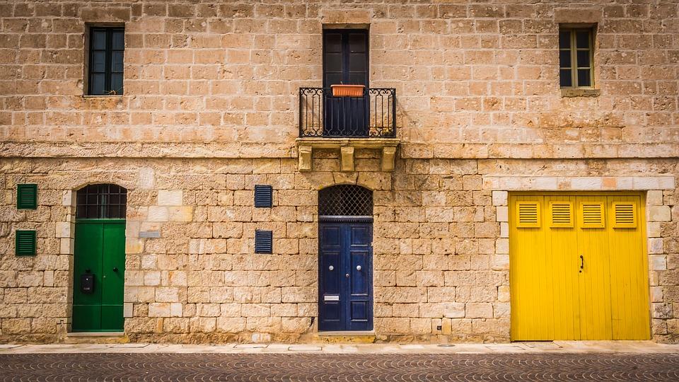Architecture, Doors, Yellow, Green, Blue, Malta