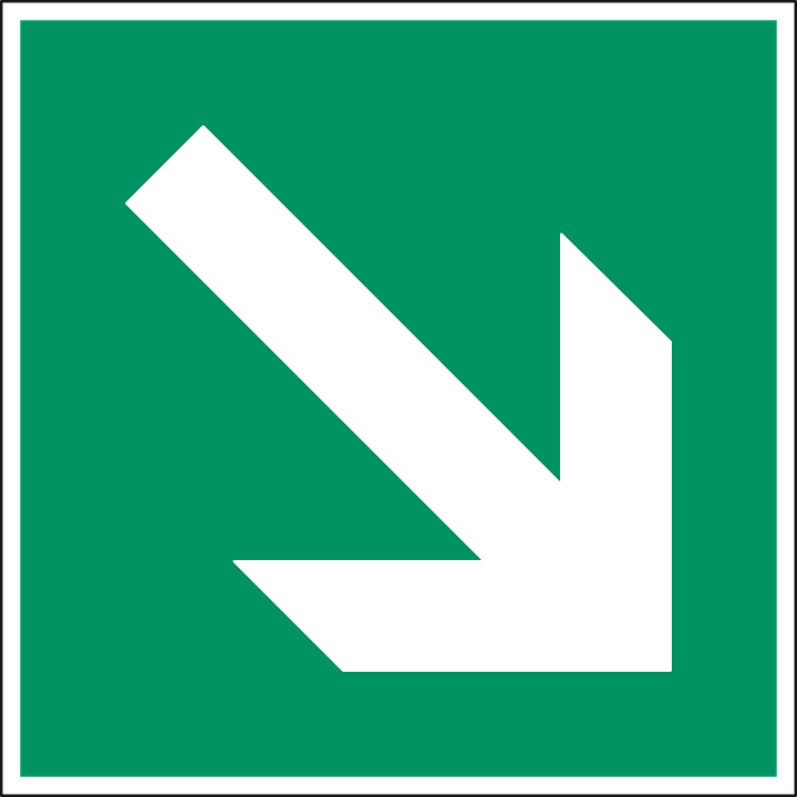 Arrow, Down, Downward, Green, Way, Direction, Sign