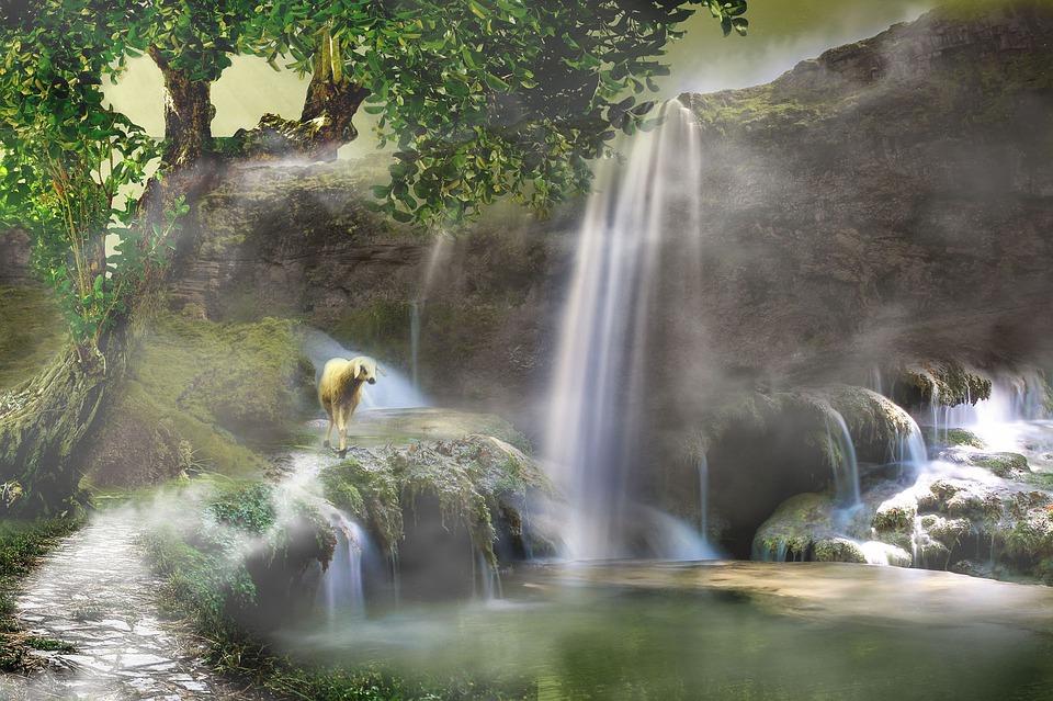 Digital Art, Waterfall, Forest, Nature, Water, Green