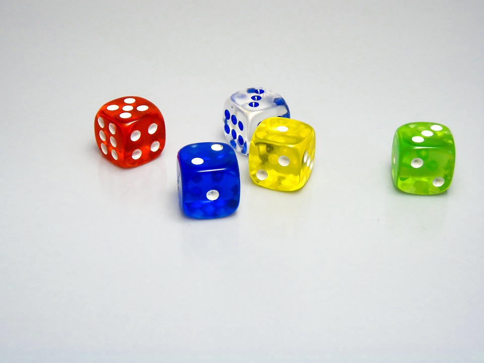 Dice, Game, Toy, Gambling, Red, Blue, Green