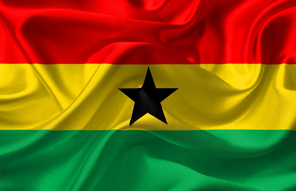 Flag, Ghana, Red, Yellow, Green, Black, Star