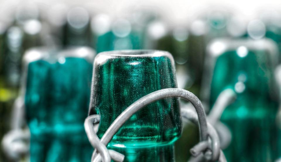 Bottles, Old, Glass, Snap Lock, Empty, Green Glass