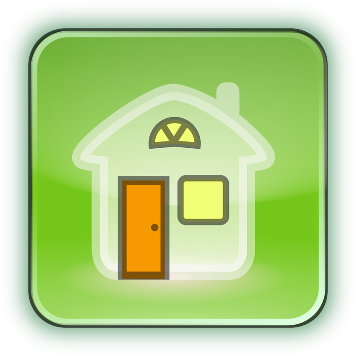 Home, House, Icon, Button, Green Home, Green House