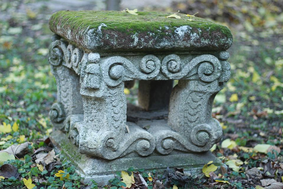 Antique, Stone Chair, Green, Park, Nature, Leaves