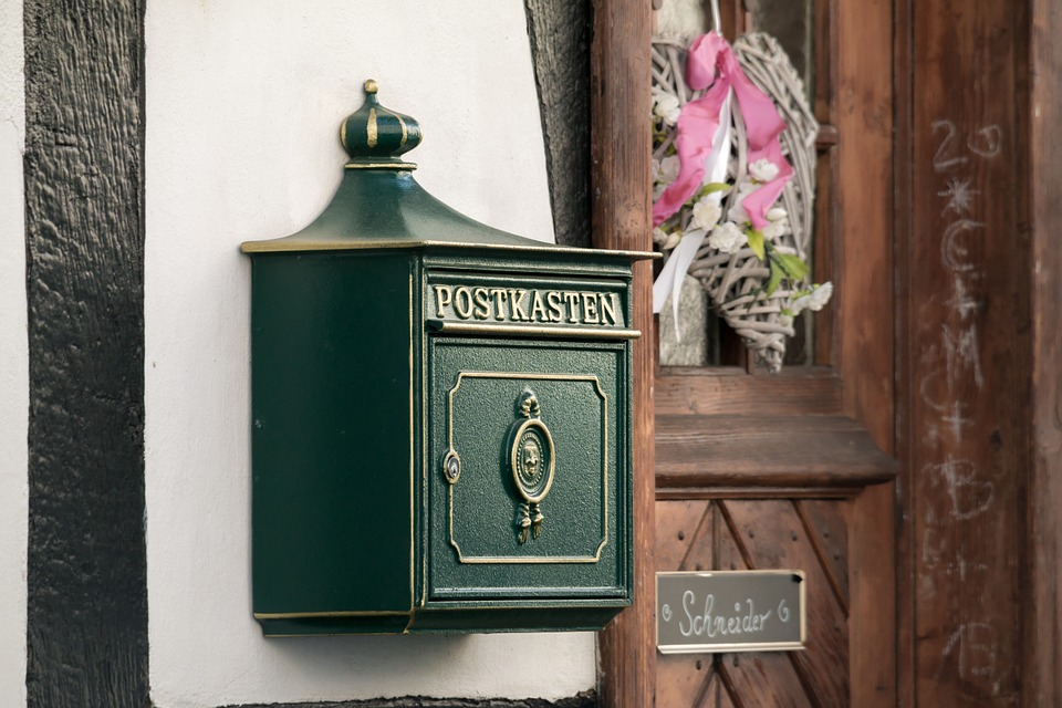 Mailbox, Post, Letter Boxes, Green, Gold, Blacksmithing