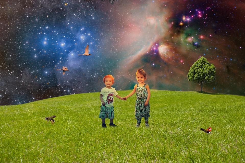 Meadow, Green Meadow, Children, Laughing Children, Boy