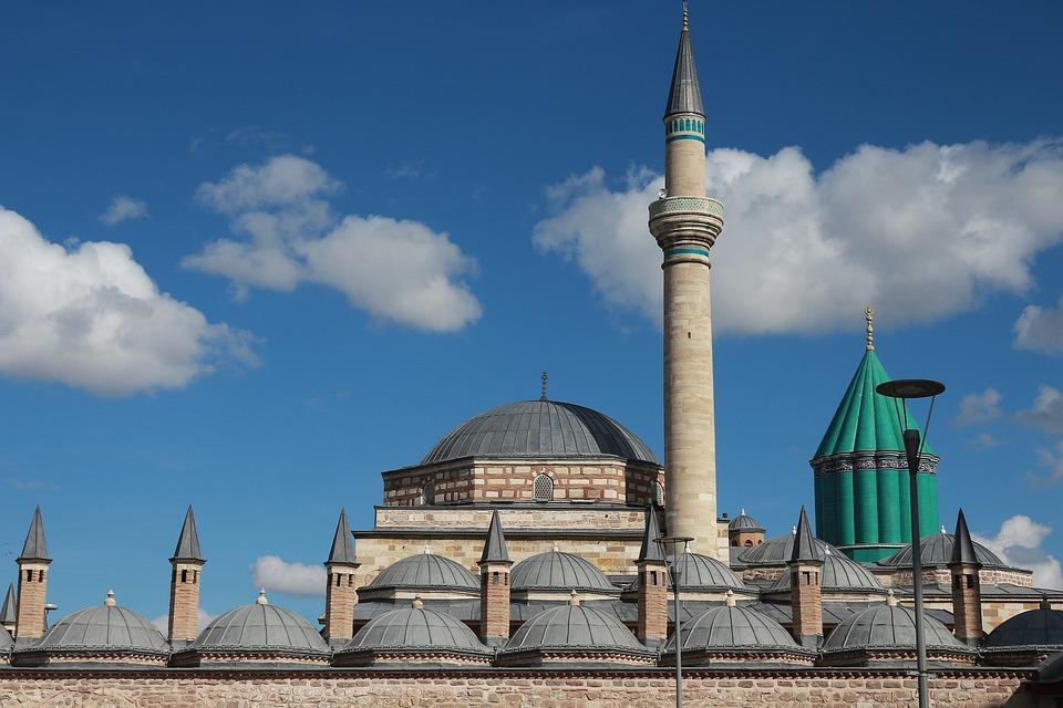 Shrine, Green, Maulana, Konya, Chimney, Minaret, Dome