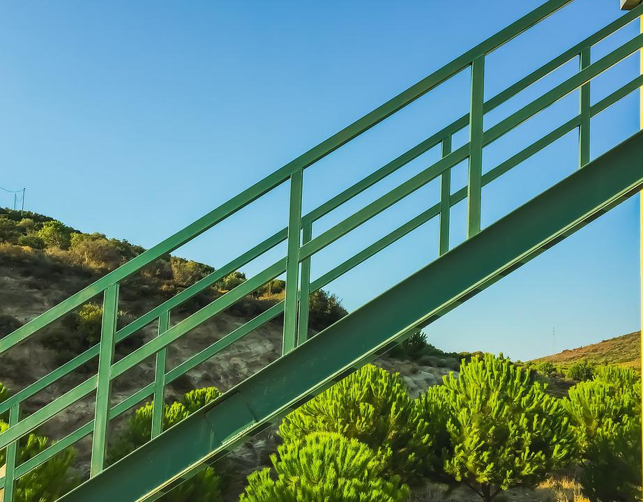 Green, Nature, Stairs, Mountain, Trees, Clear, Sky