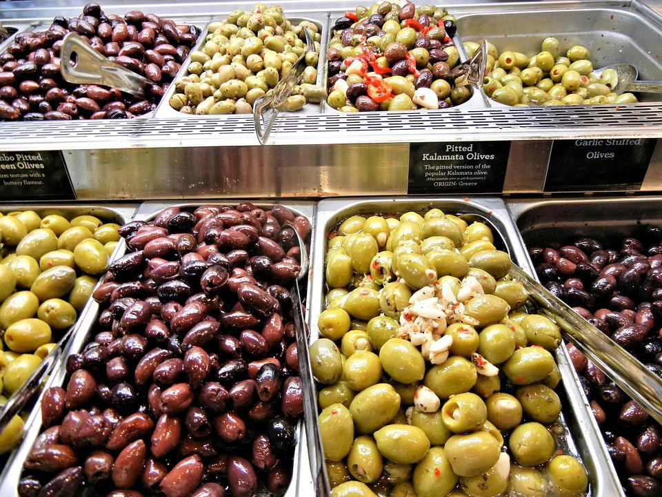 Olives, Pitted Kalamata, Garlic Stuffed, Various, Green
