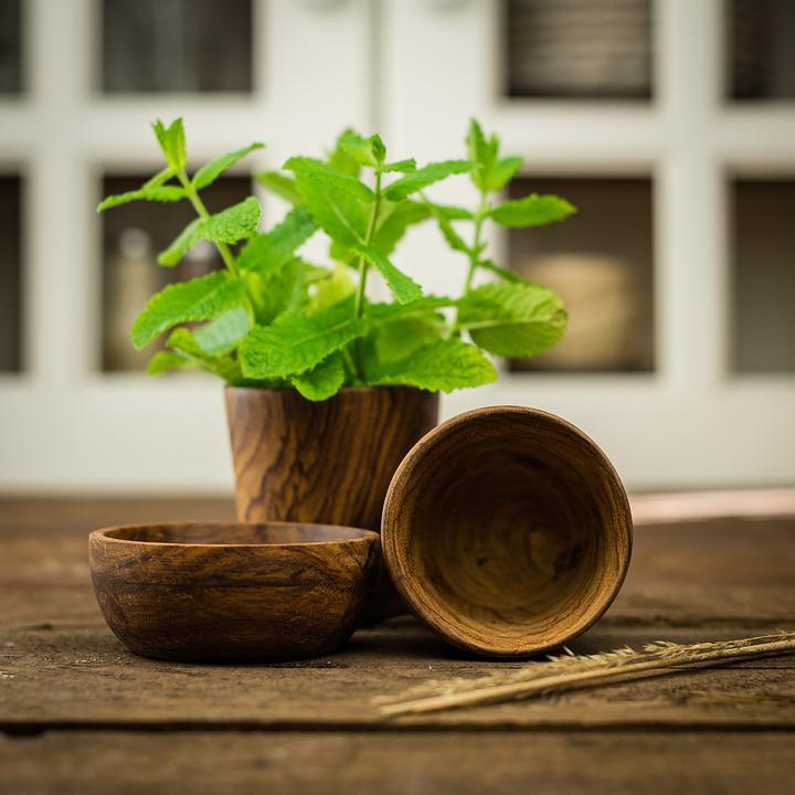 Herbs, Wood, Dish, Glass, Opbvevaring, Green