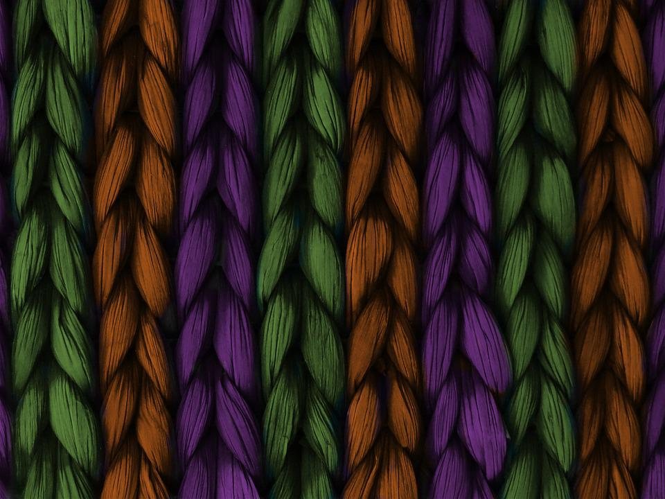 Background, Weave, Plait, Purple, Orange, Green
