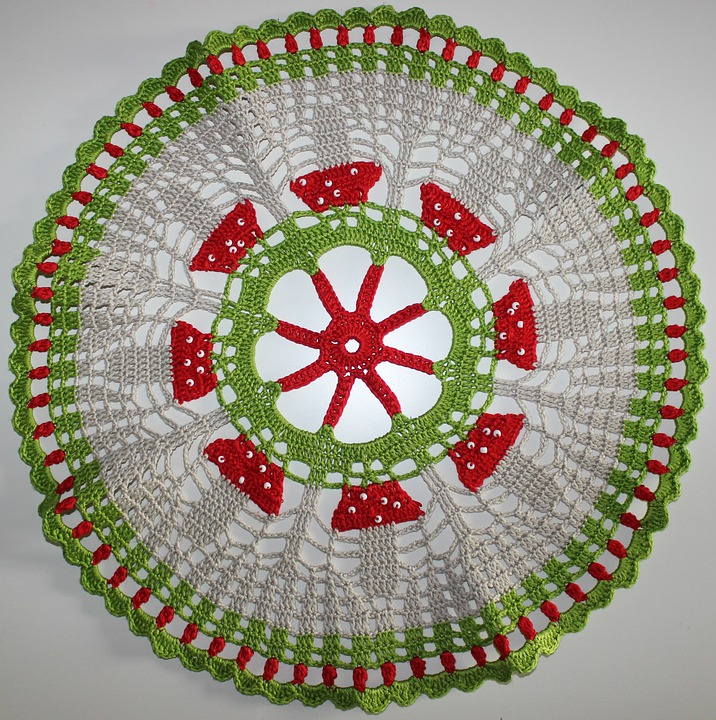 Crochet, Hand Labor, Green, Red, White, Tablecloth