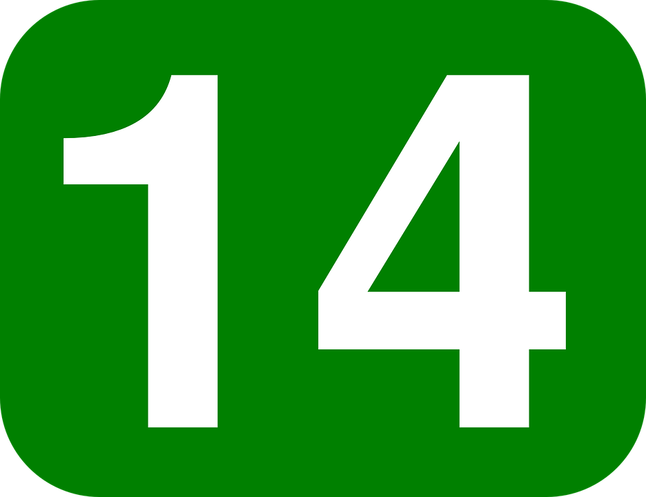 Number, Fourteen, Rounded, Rectangle, Green, White