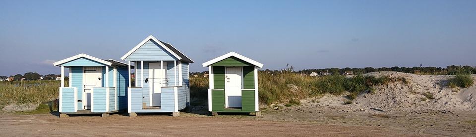Badehytter, Beach, Siv, Light Blue, Green, Sand
