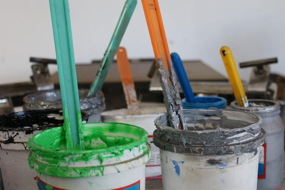 Paintings, Inks, Green, Grey, Boat, Screen Printing