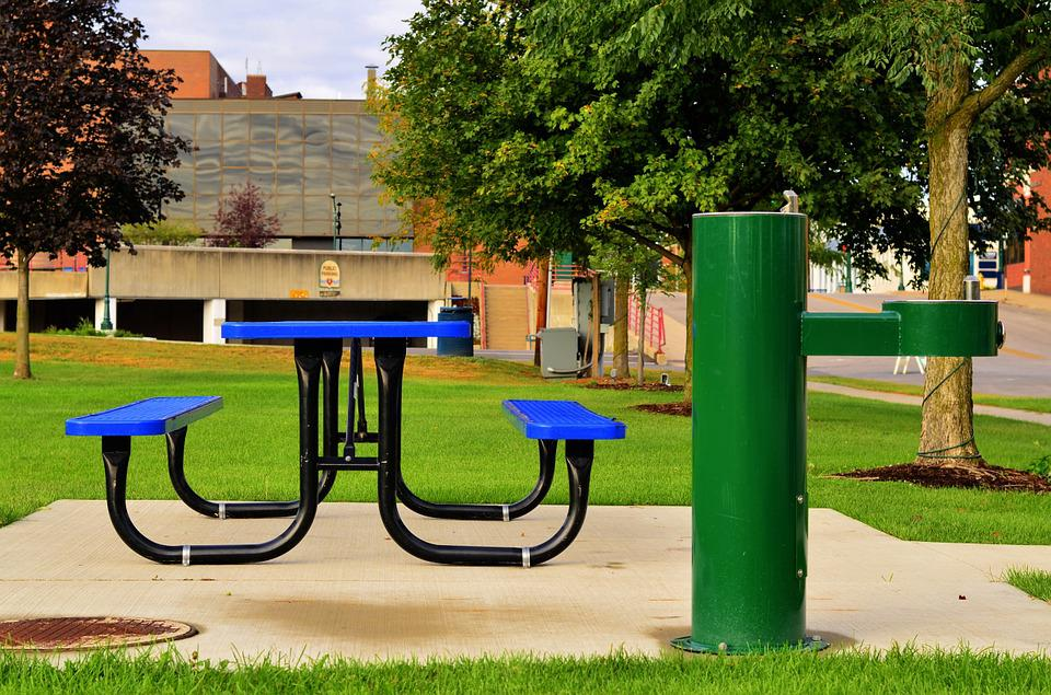 Picnic, Table, Graphic, Blue, Green, Modern, Park