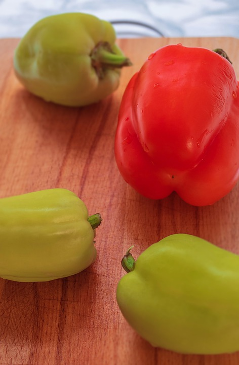 Food, Vegetables, Pepper, Red, Green, Wooden, Table