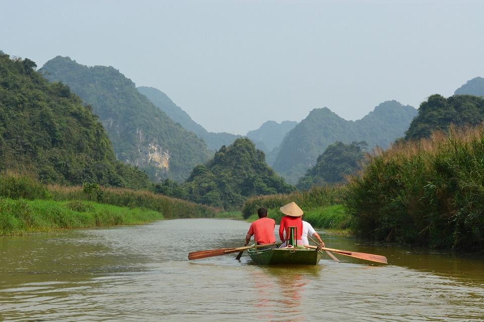 Viet Nam, River, Raft, Water, Mountain, Green, Nature