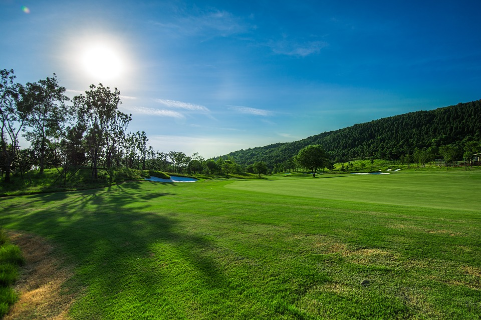 Green, Golf, Blue Sky, White Cloud