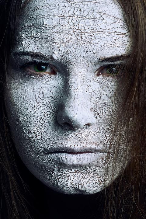 Cracked, Skin, White, Texture, Green, Eyes, Halloween