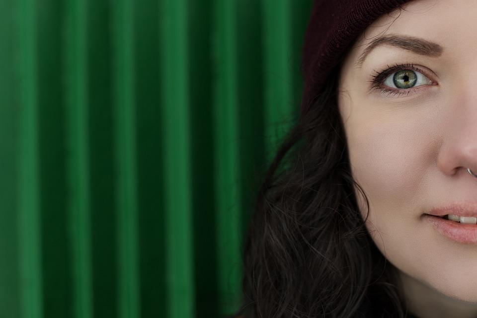 Girl, Woman, Green, Half, Person, Portrait, Eye