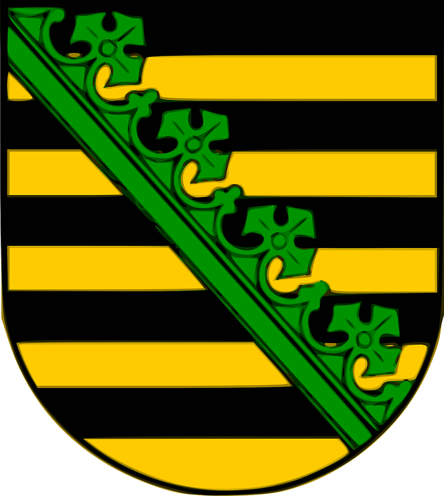 Saxony, Coat, Arms, Shield, Yellow, Black, Green