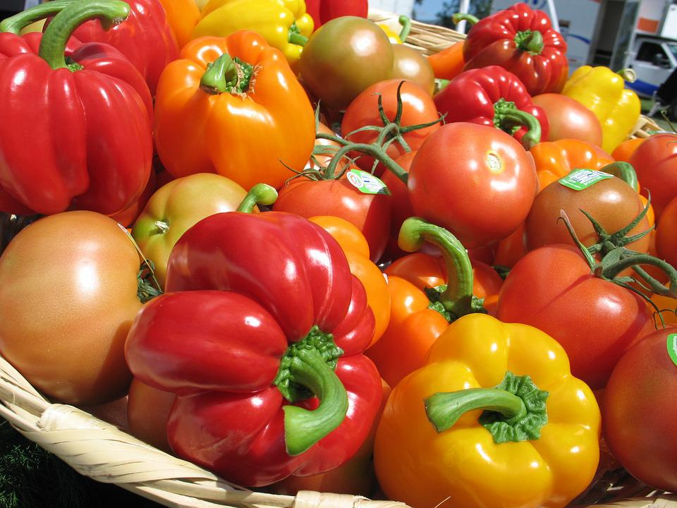Tomatoes, Peppers, Greenhouse, Vegetables, Food